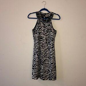sleeveless zebra print mini dress